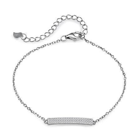 coulomb: Elegant silver bracelet with a pendant in the shape of a plate with a diamond on a white background