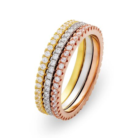 circumference: Three bracelets made of different shades of gold with diamonds around the entire circumference.