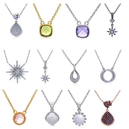 a precious: Set of jewelry pendants with precious stones and pearls Stock Photo
