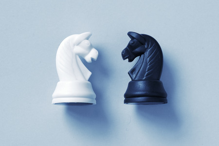 confrontation: Confrontation of chess knights on a light blue background with slight set down shadow
