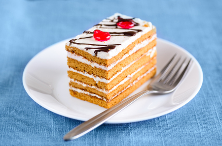 Close-up view of piece of sweet cake with fork on white plate, over light tablecloth Stock Photo