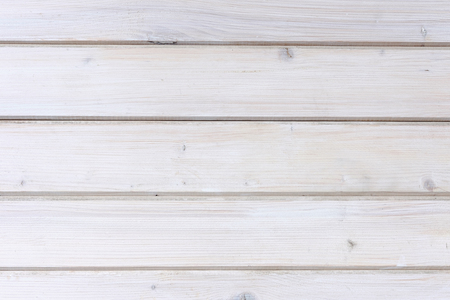 Painted white wooden plank or wall background with horizontal boards and copy space in a full frame view Stock Photo