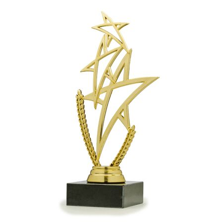 Golden shiny trophy with pedestal in shape of triple star on white background