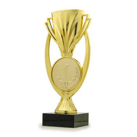 Shiny golden statue award cup for first place rewarding on white background