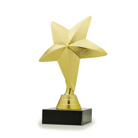 Golden shiny trophy for winner in form of star on white background