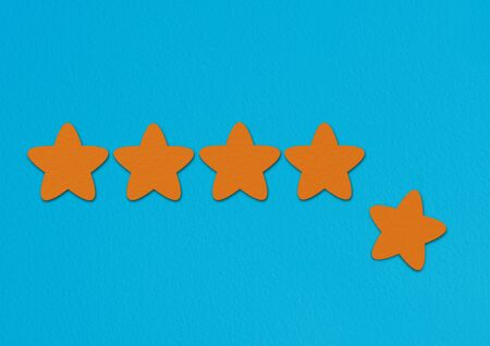 Orange stars rating on a blue background. A conceptual image of a level or achievement.