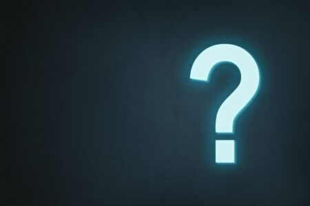 Neon question mark glows on a dark background, the concept of finding the answer to a question or finding a solution.
