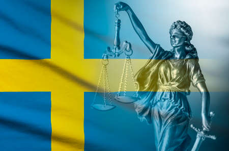Flag of Sweden with statue of blindfolded Justice