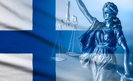 Flag of Finland with statue of Justice