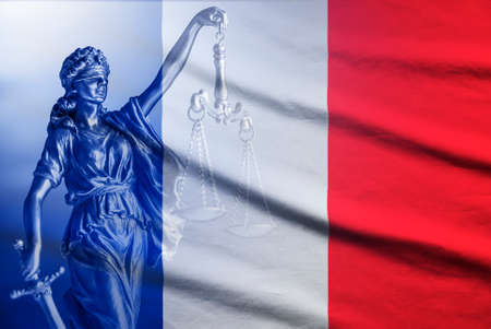National flag of France with a statue of Justice