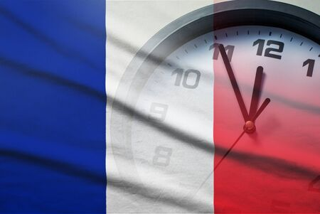 France flag with dial of a clock