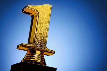 Close-up of 3d golden number one on blue background for copy space as concept for achievement, first award and leadership