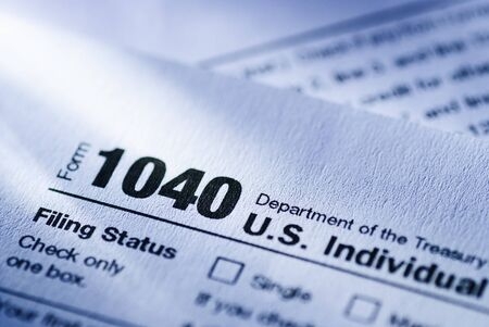 US Treasury Form 1040 for an Individual Return in close up in a money, finances, tax and income concept