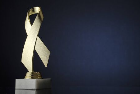 Symbolic textured gold ribbon trophy award on a plinth placed to the side over a dark background with copy space