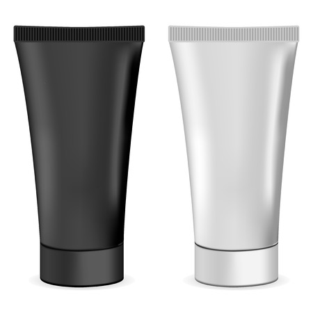 Plastic or metal realistic 3d cream tubes. Black and white cosmetic mockup set of tubes for paint, paste, glue, cream. Vector illustration.  イラスト・ベクター素材