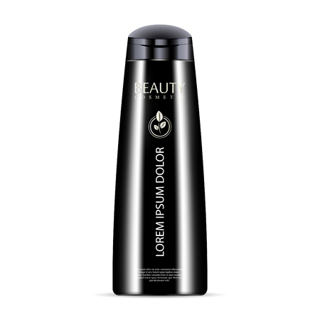 Black cosmetic bottle for shampoo, shower gel. Luxury cosmetics product with label and sample logo. Vector mockup illustration.  イラスト・ベクター素材