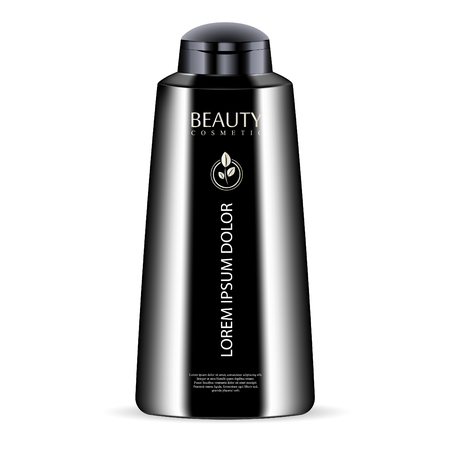 Black cosmetic bottle for shower gel, lotion, conditioner. Luxury product. Vector mockup of body cosmetics packaging. Sample logo and label in it. 向量圖像
