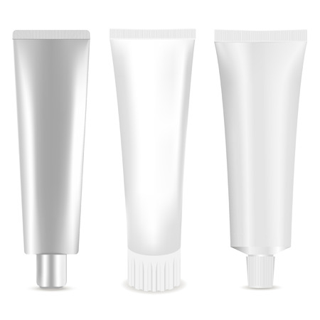 Cosmetic Tube Set. Vector illustration realistic Mock Up. Cosmetic, Cream, Tooth Paste, Glue White Plastic Tubes. Isolated on white background.
