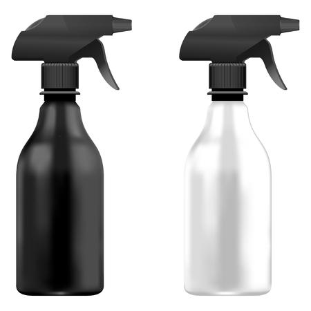 Spray Pistol Cleaner Plastic Bottle White and Black with black head. Isolated bottle set On White Background. Çizim