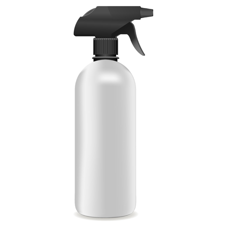 3d realistic Vector White plastic or metal Spray Bottle with black cup isolated on white background. Vector illustration for cleaner, water and another cemical products.