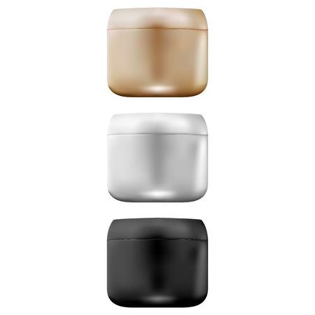 3d realistic plastic cream jar. Mockup set of jars in black, metallic white and gold color. Vector illustration. Çizim