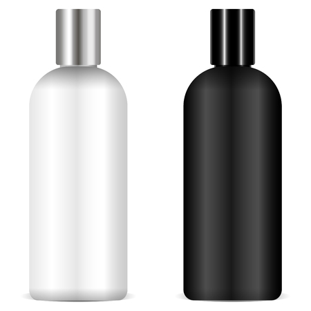Shampoo bottles black and white mockup Eps 10 vector 3d realistic illustration. Ready for your design package.