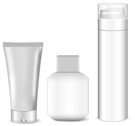 Collection of blank white men cosmetic tubes. Set of body and face care products for men. White design plastic package. Shaving foam, men's soothing after shave, cream. Eps10 Vector illustration.
