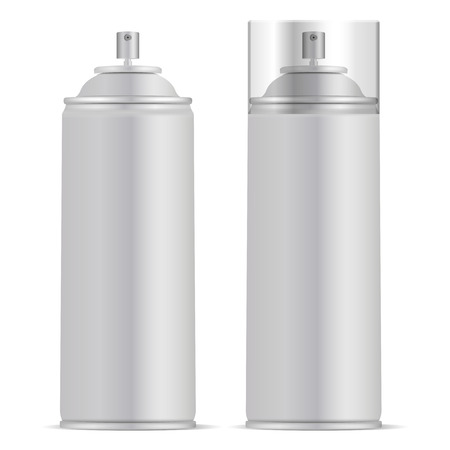 Aluminium Spray Can with Lid Vector mockup illustration. Realistic package for paint, aerosol, deodorant isolated on white background.