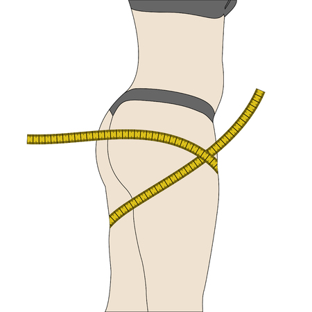 Female silhouette with measuring tape. Slim woman body shape loss weight measurement. Vector illustration.