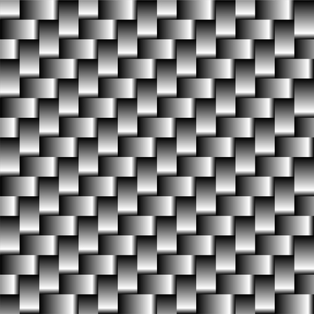 Carbon fiber seamless pattern. Abstract gray background texture vector illustration. Square structure metal sheet.