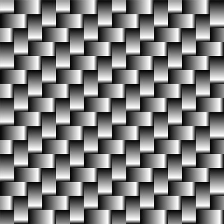 Patrón sin costuras de fibra de carbono. Ilustración de vector de textura de fondo gris abstracto. Chapa de estructura cuadrada. Ilustración de vector
