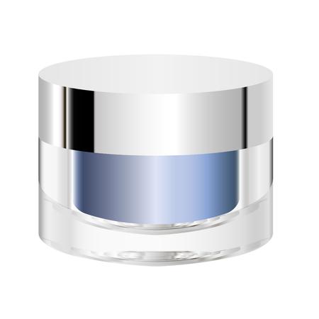 Cosmetic jar mock up vector illustration. Packaging for body cream, butter, scrub, bath salt, gel, skin care, powder. Vettoriali