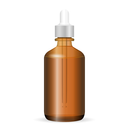 Brown glass cosmetic bottle with dropper. Vector illustration. Jar for medicine, liquid, aroma oil. Realistic Transparent Packaging.