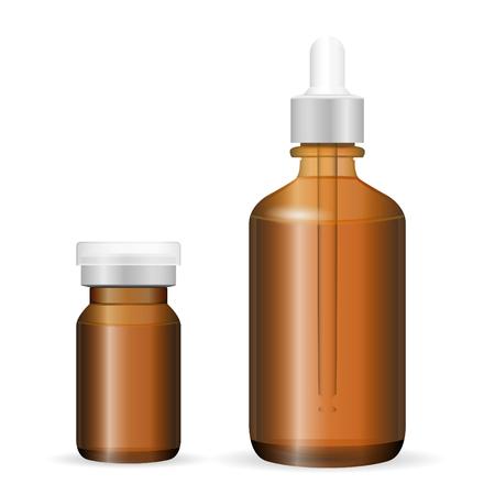 Ensemble de bouteilles en verre brun ou en plastique pour les cosmétiques, la médecine. Illustration vectorielle EPS. Flacons d'injection et compte-gouttes isolés sur fond.