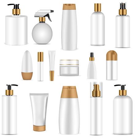 Frasco cosmético blanco con tapa dorada. Maqueta 3d realista del paquete de cosméticos. Ilustración de vector de spray, dispensador y gotero, tarro de crema, champú, loción, jabón, pasta de dientes.