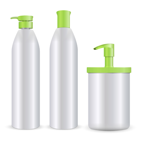 Cosmetic bottles mockup vector illustration. Set of shampoo, soap or foam, and gel care products isolated on white background. Vettoriali