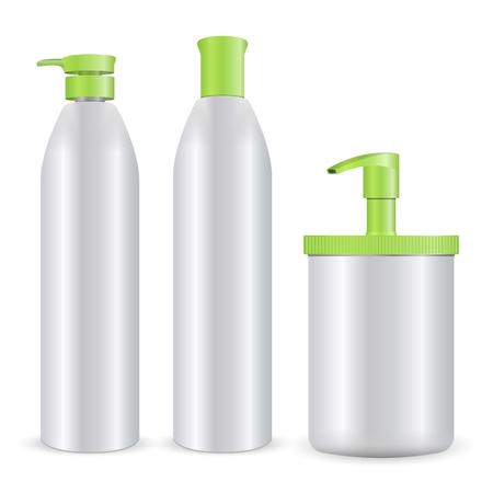 Ilustración de vector de maqueta de botellas de cosméticos. Conjunto de productos para el cuidado de champú, jabón o espuma y gel aislado sobre fondo blanco. Ilustración de vector