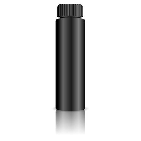 Black Cosmetics bottle for hair paint, gel, oil. Realistic vector illustration isolated on white background. 3d Mockup design.