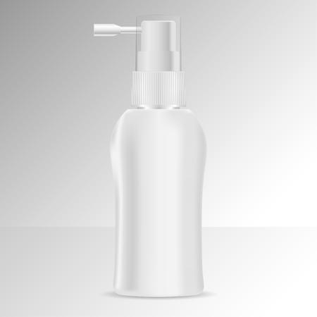 Pumpspender Haarwasser-Flasche Mock-up. Schwarz-Weiß-isolierte Vektor-Illustration. Kosmetik- oder Medizinverpackungen mit Sprühkappe.