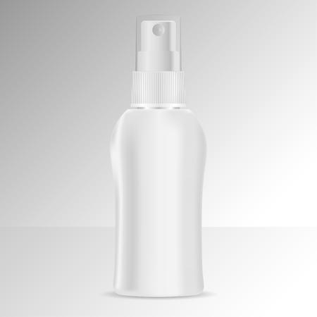 Sprühflaschenkosmetikmodell. Vektor-Illustration. Leere Vorlage für Ihr Design. Spender-Spray-Deckel-Paket.