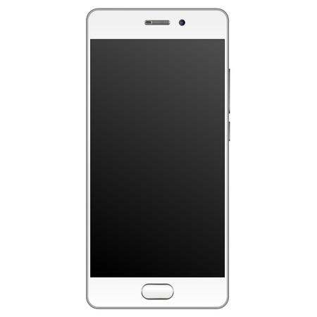 Mockup di smartphone realistico moderno con cornice bordo argento. Modello di telefono cellulare con schermo vuoto Illustrazione vettoriale. Dispositivo mobile isolato su sfondo bianco.