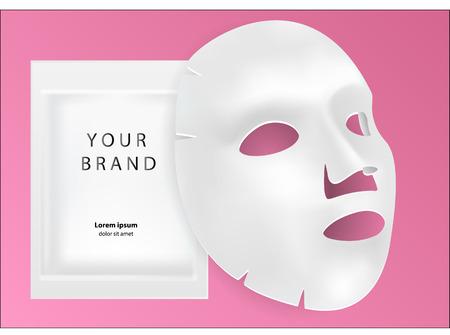 Masque cosmétique facial en feuille blanche isolé sur fond. Illustration vectorielle réaliste réaliste 3D. Maquette pour la conception d'emballages. Produit de beauté cosmétique pour le traitement du visage, anti-âge. Vecteurs