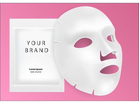 White sheet facial cosmetic mask isolated on background. 3d realistic Realistic vector illustration. Mockup for packaging design. Cosmetics beauty product for face treatment, anti-aging.
