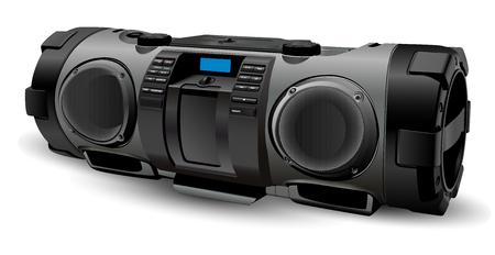 Modernes realistisches Boombox-Modell in silbernen und grauen Farben. Tragbarer Stereo-Recorder im Street-Style. Hip-Hop, Rap, Rock, Popkultur. Vektorillustration lokalisiert auf weißem Hintergrund. Vektorgrafik
