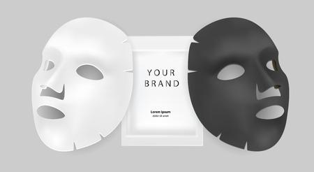 Annunci cosmetici per maschere facciali in bianco e nero. Illustrazione vettoriale realistico. Design del pacchetto per maschera facciale isolato su sfondo grigio.