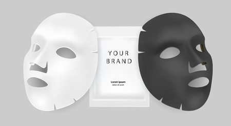Black and white facial mask cosmetics ads. Realistic vector illustration. Package design for face mask isolated on grey background.