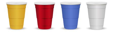 Conjunto de vasos de plástico o papel desechables de colores aislados sobre fondo blanco. Fácil de cambiar el color realista ilustración vectorial 3d. Bebida de color rojo, amarillo, azul, gris.