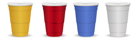 Set of colorful Disposable paper or plastic Cups isolated on white background. Easy to change color realistic 3d vector illustration. Red, yellow, blue, grey colored drink. Иллюстрация