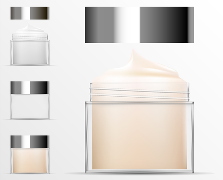Transparent Cosmetic plastic bottle. Filled and empty Jar for body cream, butter, bath salt, gel, skin care, powder. Realistic container packaging mockup template. Vector illustration.