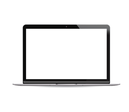 Laptop pc with white lcd screen isolated on background. Portable notebook computer realistic vector illustration. High quality modern design. Çizim